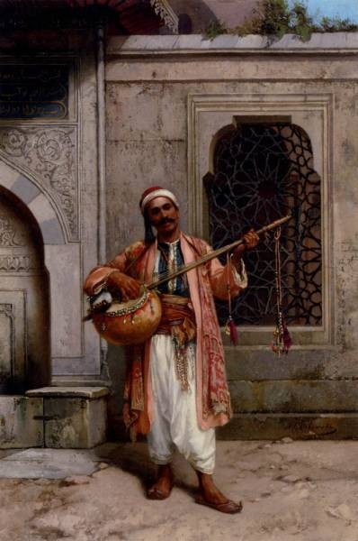 A Musician Playing Before A Mosque In Constantinople